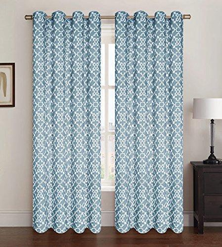 ブルー2パックアレックスウィンドウパネルカーテン、ウィンドウ、ラティスパターン、54