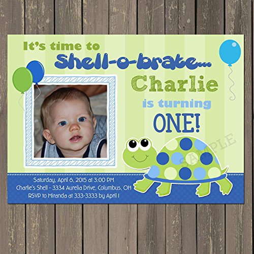 Turtle 1st Birthday Invitation in Blue and Green