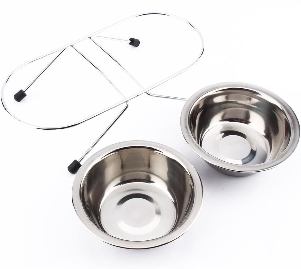 Haokaini Doble Doble Cuencos de Acero Inoxidable Perro Cachorro Gato Comida para Mascotas Agua Plato Plato Soporte