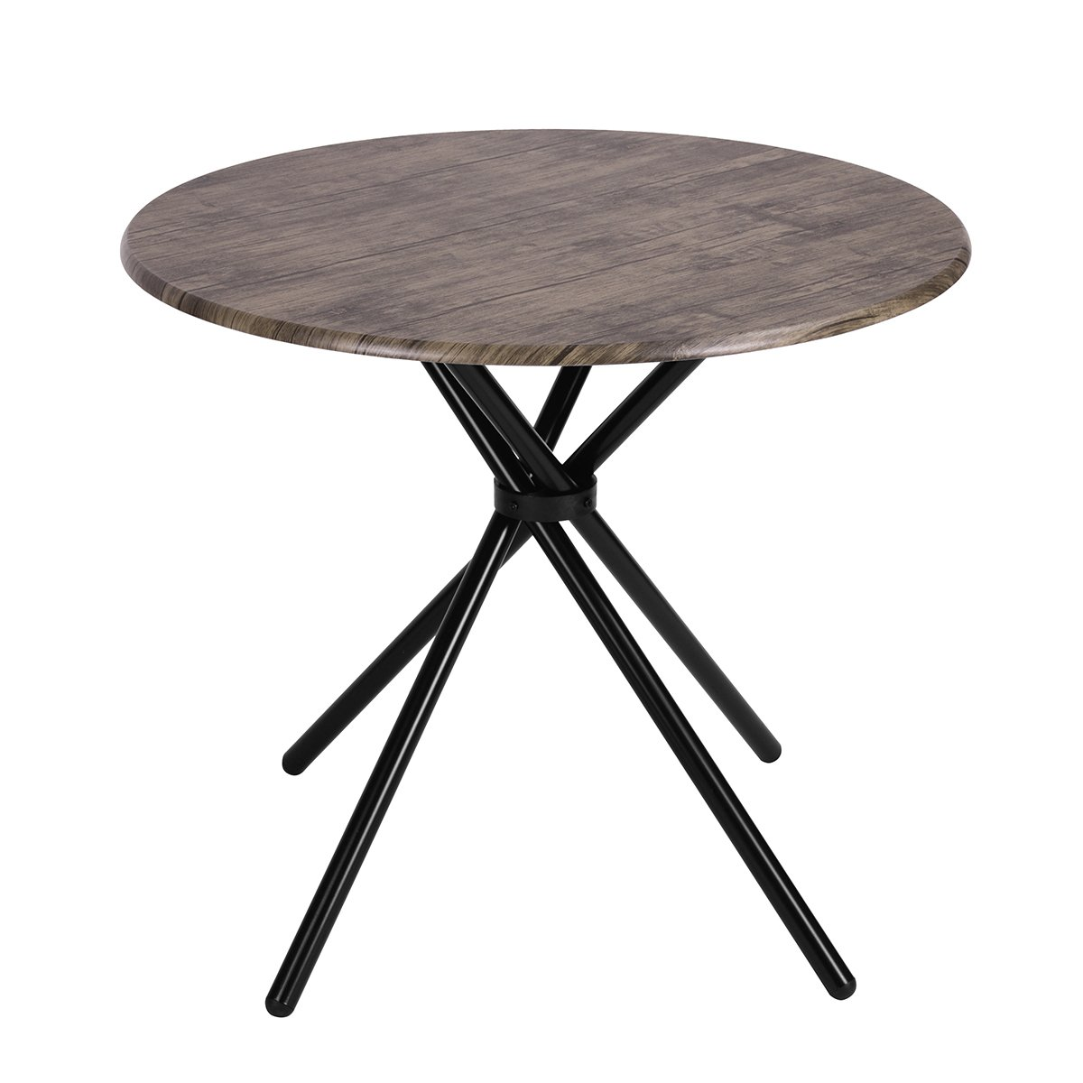 Kitchen Dining Table Industrial Brown Round Mid-Century Wood Coffee Table Office Home Easy-Assembly 35.4x35.4x29.5 Inches for for Living Drawing Receiving Room