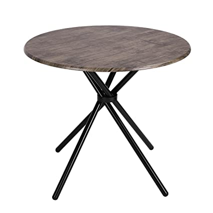 Amazoncom Kitchen Dining Table Industrial Brown Round MidCentury - Mid century pedestal dining table