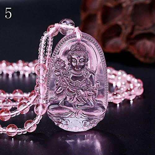 - Fonkup Rose Quartz Necklace Pink Crystal Carved Buddha Pendant Women Jewelry Pendant 5