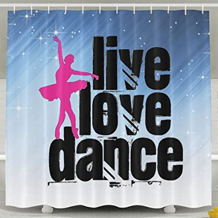 Amazon HUANGLING Live Love Dance Shower Curtain 60x72inch