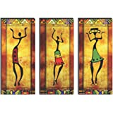 SAF 6MM MDF Modern Art Dancing Lady Digital Reprint SELF Installation Painting (Synthetic, 38 cm x 45 cm, Set of 3,)