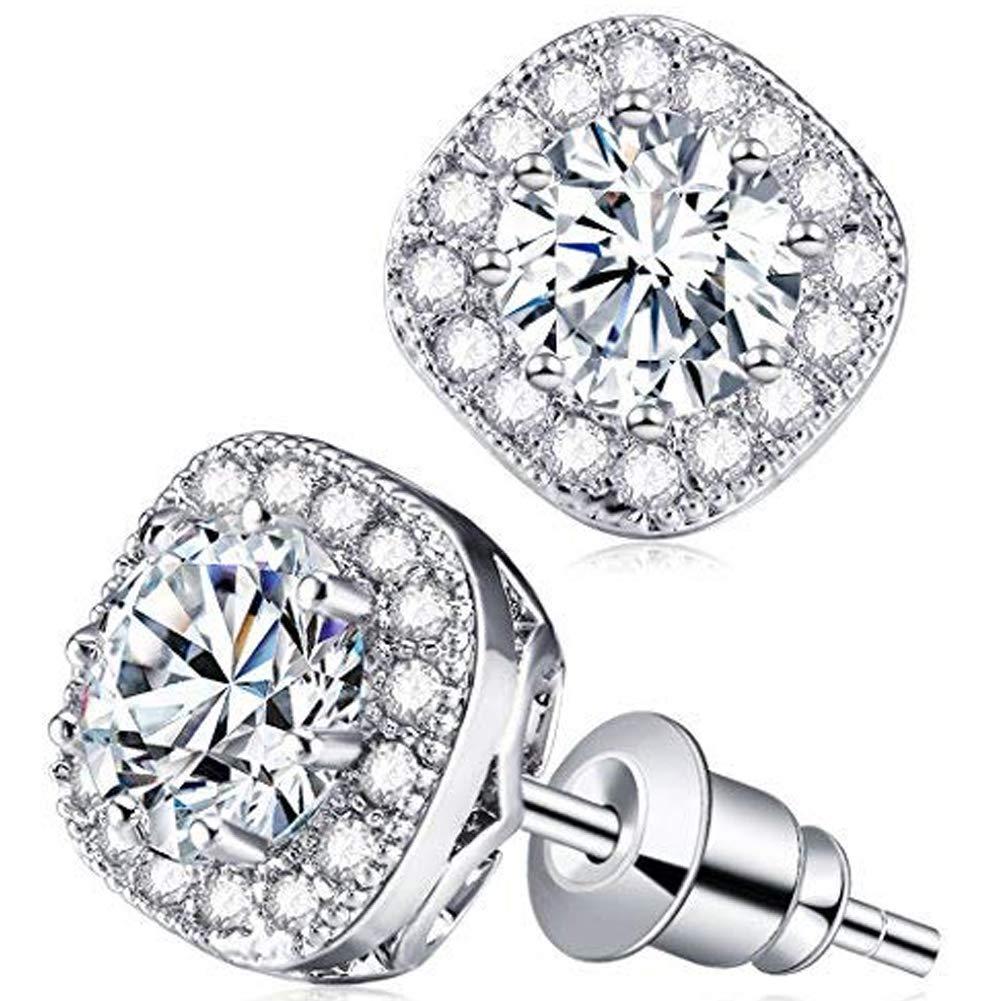 Stud Earrings, Silver Plated Rhinestone Crystal Halo Cubic Zircon for Women Earring (E001-S)