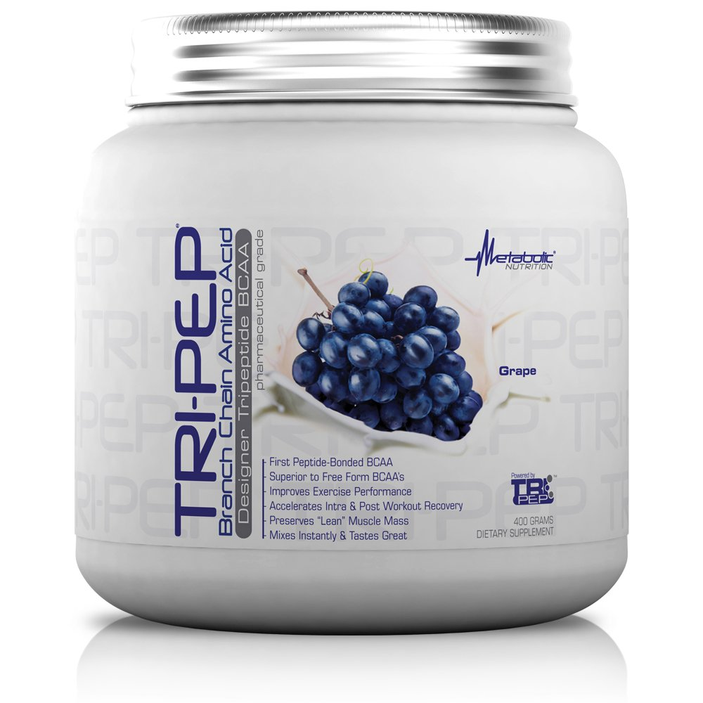Metabolic Nutrition, TRIPEP, 100% Tri-Peptide Branch Chain Amino Acid, BCAA Powder, Pre Intra Post Workout Supplement, Grape, 400 Grams (40 Servings)