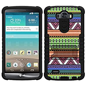 Beyond Cell Tri-Shield Aztec Navajo Neon Black Pattern Case for LG G3