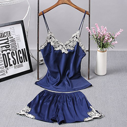 Amazon.com: MH-RITA Womens Pajamas Womens Summer Ice Silk Thin Summer Small Chest V Collar Lace Temperament Womens Shorts Two Suits: Clothing
