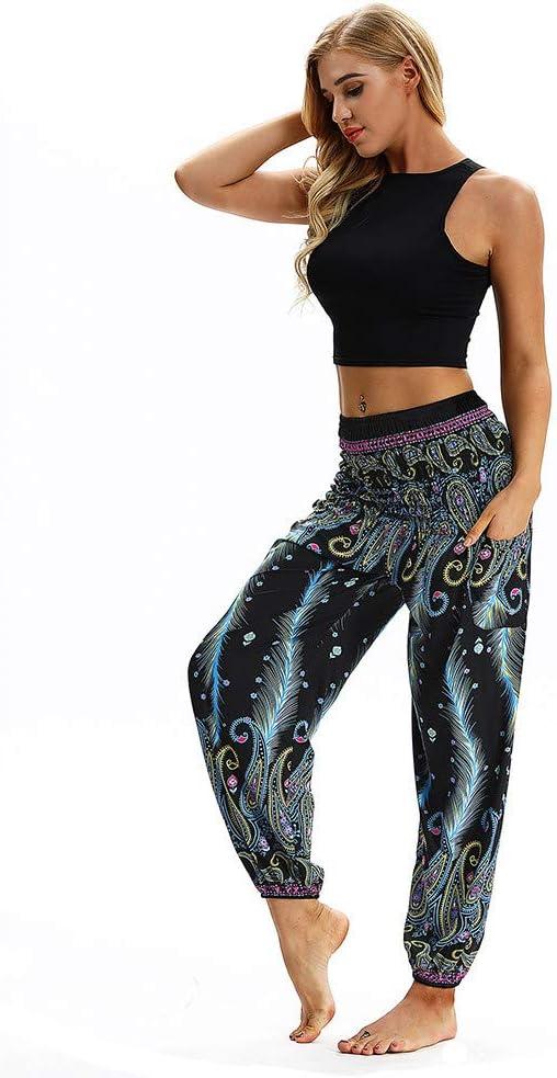 Fitfulvan Womens Yoga Pants,Women Casual Loose Yoga Printed Trousers Baggy Boho Aladdin Jumpsuit Harem Pants