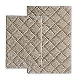 Chardin Home - 100% Cotton 2 Piece Impression Bath Rug Set, (21''x34'' & 17''x24'') Beige