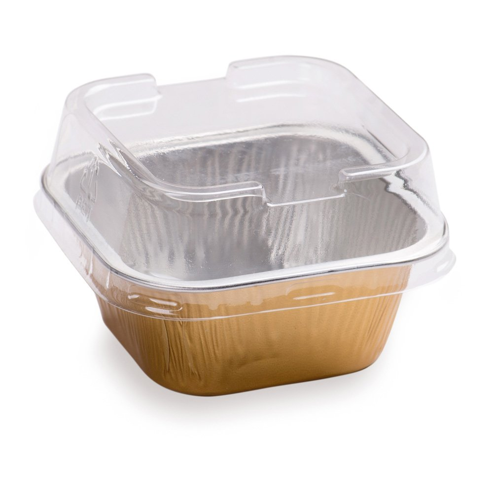 Premium 3.4-OZ Baking Cups with Lids - Square Foil Baking Cups & Lids Perfect for Fancy Desserts or Mini Snacks - Gold Cup with Clear Lid - Oven & Freezer Safe - Recyclable - 100-CT by Restaurantware (Image #2)
