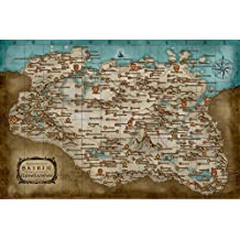 Tomorrow sunny The Glder Scrolls 5 Skyrim Russian language Game Map Poster Art Wall Pictures for Living Room in Canvas fabric cloth Print