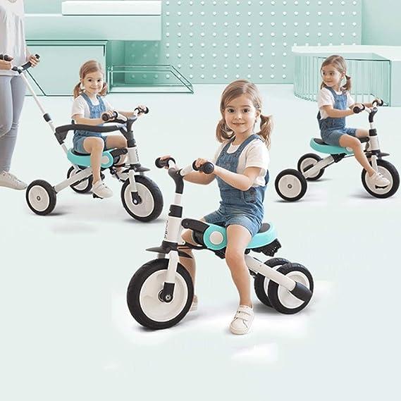 Mopoq Triciclo de tres en uno para niños Bicicleta 1~6 años Trolley grande Bebé Bicicleta Equilibrio Coche Joven Niño Bicicleta Empujar a mano Rueda sólida Azul ...