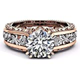 SXFSE Luxury and Shining Fashion Women Color Separation Rose Gold Wedding Engagement Floral Ring
