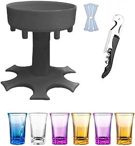 Yancorp 6 Shot Glass Dispenser and Holder -Dispenser For Filling Liquids, Shots Dispenser, Multiple 6 Shot Dispenser, Bar Shot Dispenser, Cocktail Dispenser, Dispenser With Slogan (Grey)