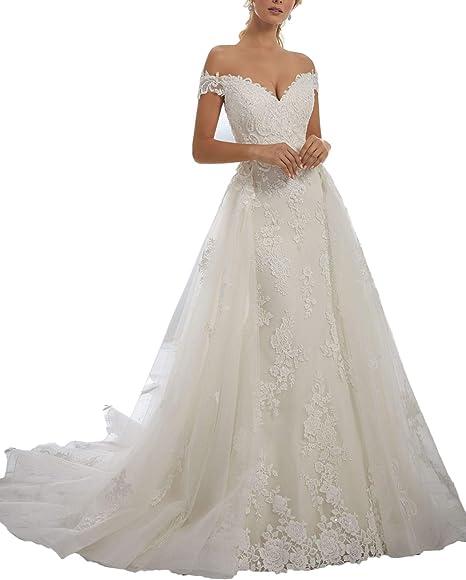 Amazon.com: Yisha Bello - Vestido de novia para mujer, sin ...