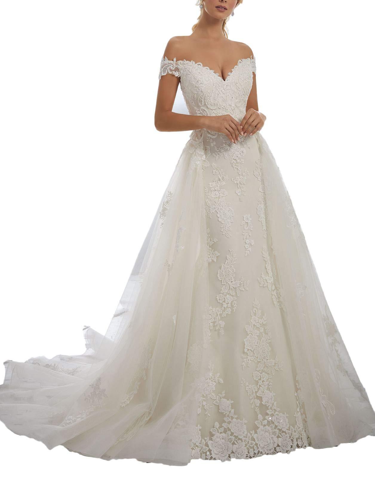 a line off the shoulder wedding dress