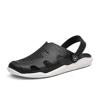 46685fd6239461 MUMUWU Men's Mules Flat Heel Hollow Vamp Slip On Outdoor Trend Beach  Sandals Outdoor Shoes (