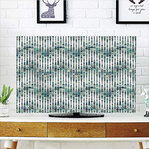 (iPrint LCD TV Cover Multi Style,Geometric,Wave Shape Geometric Figures Color Tile Mosaic Artistic Composition with Squares,White Blue,Customizable Design Compatible 55