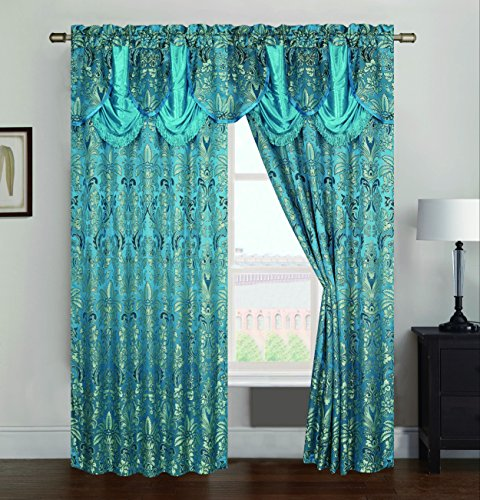 RT Designers Collection Gina Jacquard 54 x 84 in. Rod Pocket Curtain Panel w/ Attached 18 in. Valance, Teal