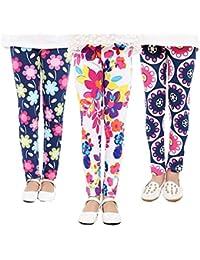 3 Packs Girls Pants Great Stretch Printing Flower Toddler Leggings Kids