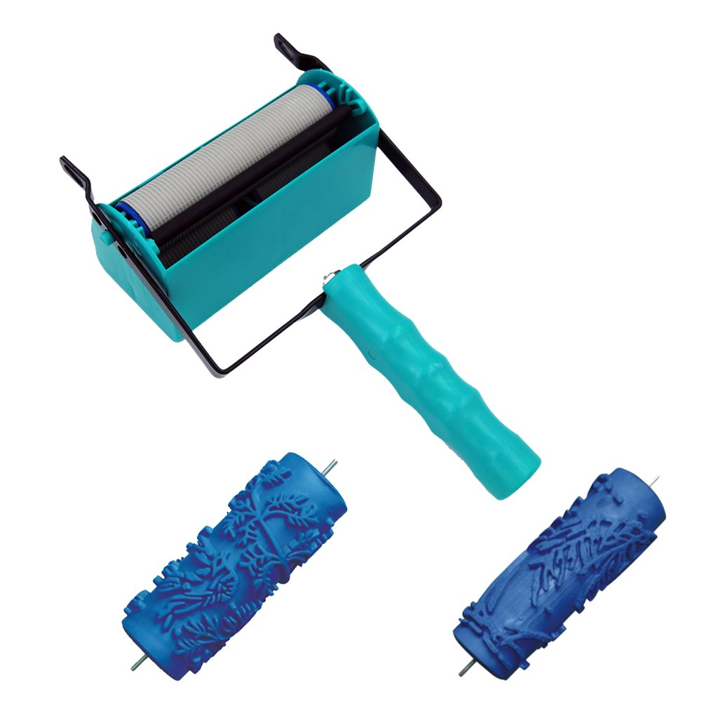 Dovewill 15cm Plastic Two-Color Decoration Machine + 2Pieces Rubber Paint Brush For Home Wall DIY Decor