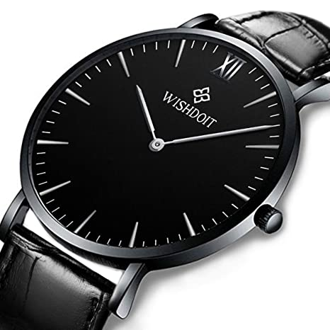 Men's Watch Ultra Thin Minimalist Black Quartz Watch Fashion Waterproof Watch For Men Stainless Steel With Classic Black Milanese Mesh/Leather Band … by Wishdoit