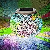 Solar Powered Glass Ball LED Lights Color Changing Solar Garden Lights Mosaic Glass Jar Light, Waterproof & Energy Saving Decor Lights for Home, Patio, Bedroom and Christmas