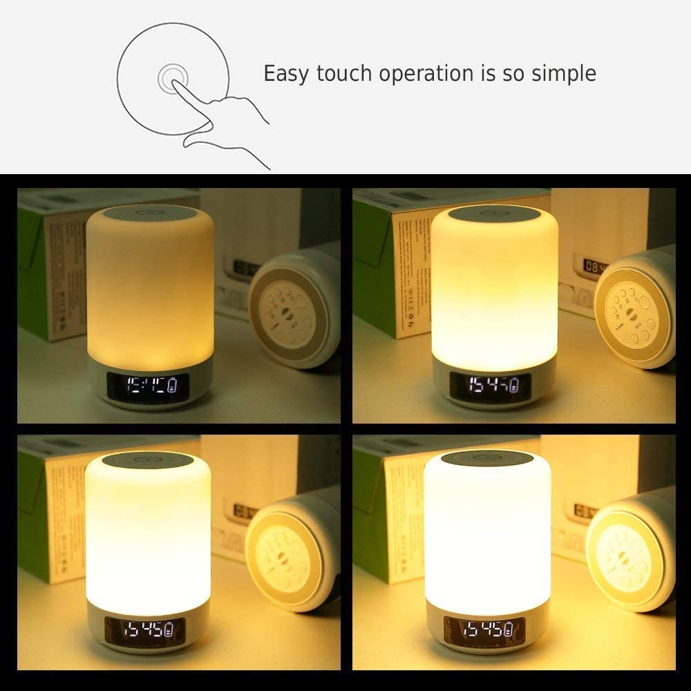 USB Table Lamp Dimmable 3 Level Warm White Light /& Six Color Changing RGB Smart Touch Bedside Lamp with 4 Fast USB Charging Ports, UK Plug