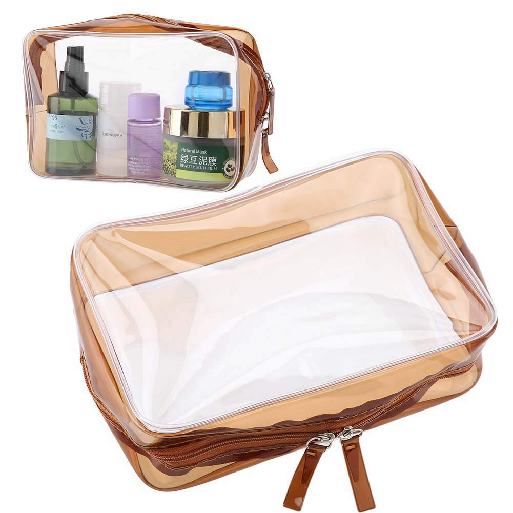 Transparent Cosmetic Bag, PVC Waterproof Foldable Clear Makeup Zipper Storage Bag Toiletry Storage Case Skin care products Toiletries Washing Articles Pouch Bag Home and Travel Use(#3(L))