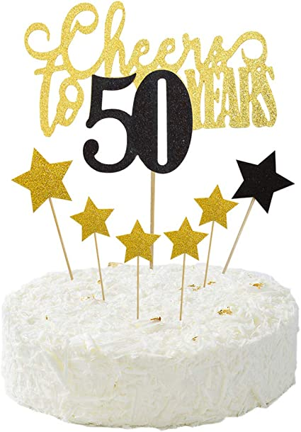 Fantastic Amazon Com Cheers To 50 Years Cake Topper For The 50Th Birthday Personalised Birthday Cards Veneteletsinfo
