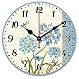 Yesee Wood Wall Clock, Retro Style Non Ticking Silent Wooden Clock Battery Operated, Decorative Vintage Wall Clock for Living Room, Bedroom. (12 Inches, Pastoral style)