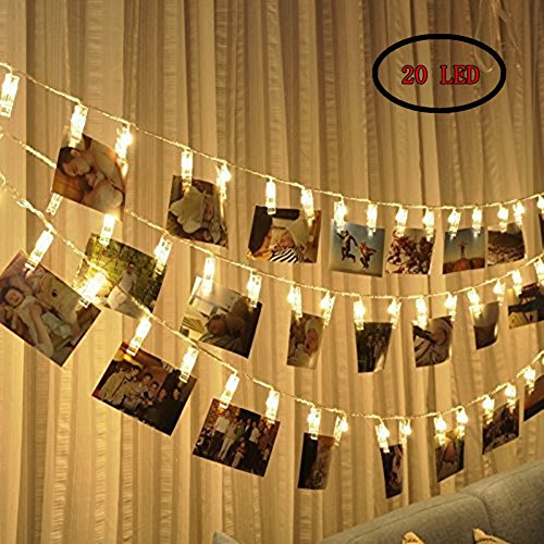 Photo Clip String Lights 20 Photo Clips, Perfect for Hanging Photos, Pictures, Notes, Paintings Card and Memos- 2,2 Meter/7,2 Feet - 3 AA Batteries Powered by ECHI