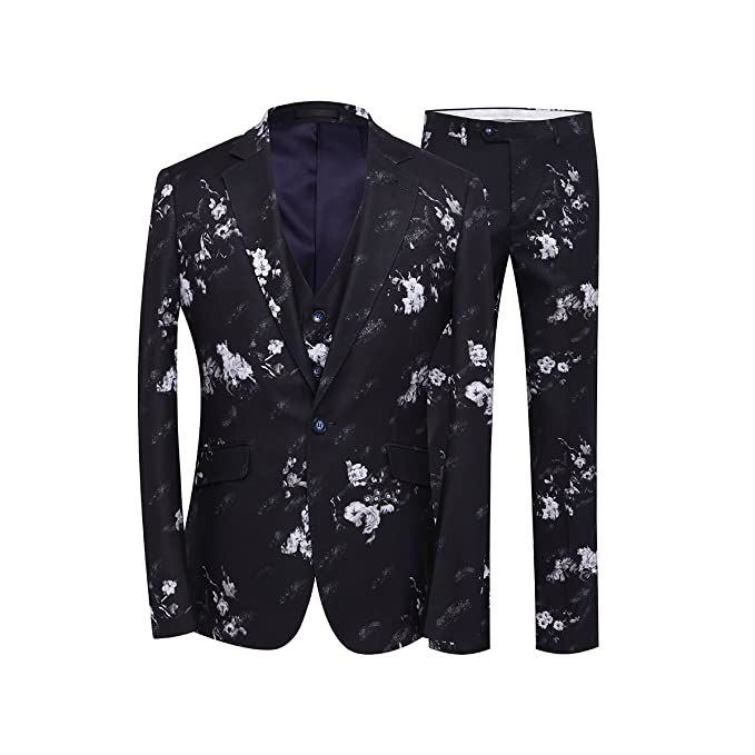 website for discount great quality durable service YFFUSHI Mens 3 Piece Suit One Button Floral Print Party Tuxedo Slim Fit