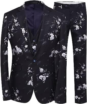 YFFUSHI Mens 3 Piece Suit One Button Floral Print Party Tuxedo Slim Fit