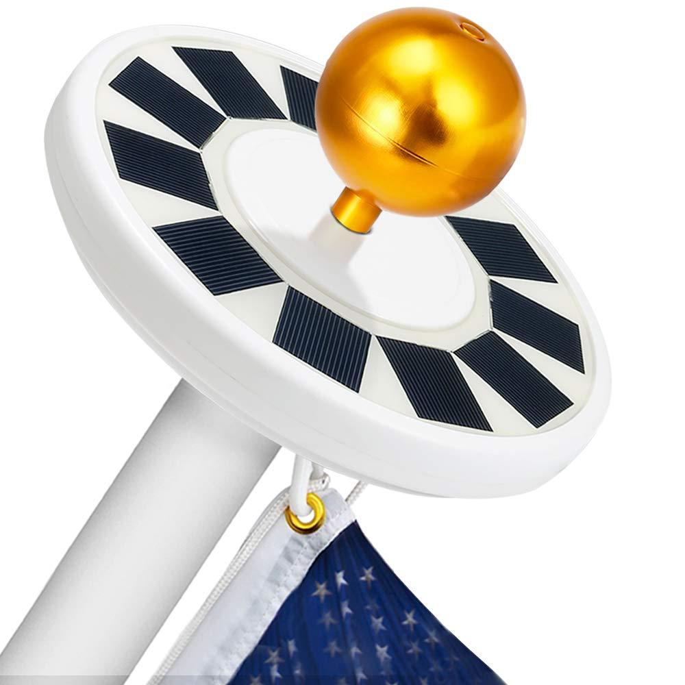 Hallomall Flagpole Solar Light 30LED Downlight Lighting for 15 to 25 Ft Flag Pole Topper, Auto On/Off Night Light