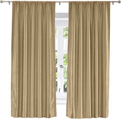 ChadMade Soundproof Energy Saving Polyester Cotton Silk Solid Curtain Taupe 120 W x 96 L, Rod Pocket Without 1 Header Silk Satin Drapery Window Treatment Panels with Blackout Lined 1 Panel