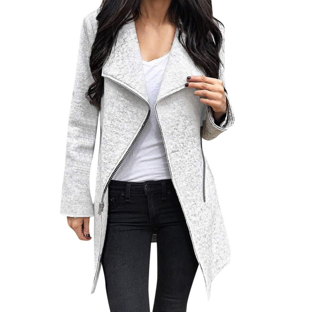 Womens Long Coat Clearance,DEATU Ladies Irregular Full-Zip Coat Lapel Outwear Casual Long Sleeves Tops(Gray,L)