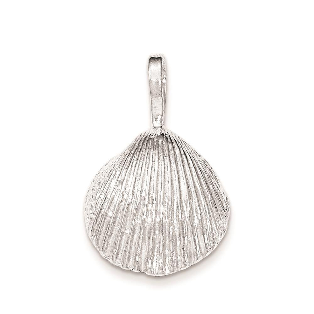 925 Sterling Silver Polished Shell Chain Slide Open-back Charm Pendant