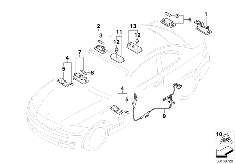 BMW Genuine License Plate LED Lamp Number Plate Light 63267193293