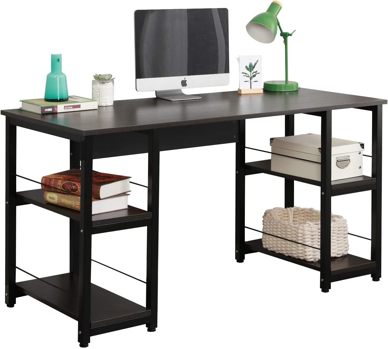 DlandHome Computer Desk 55 inches w/Open Storage Shelves for Both Side Multifunction Trestle Desk Home Office Desk/Studio Workstation,DlandHome 55 inches Computer Desk, DZ012, Black Brown