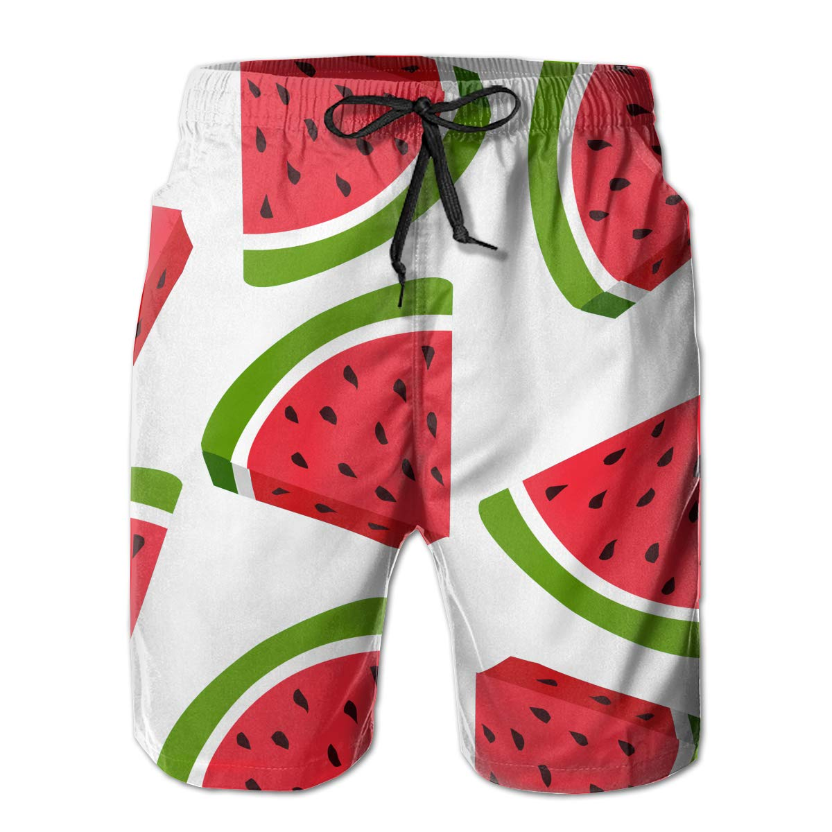 MikonsuChic Watermelon Fruit Pattern Mens Colorful Swim Trunks Beach Board Shorts with Lining White