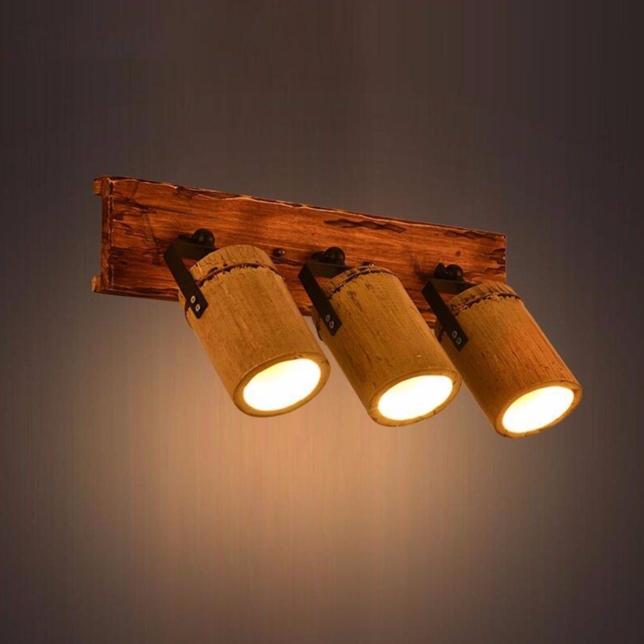 Lampada da parete American Vintage (Vento Loft Bambù Legno Duro Personalità Creativa Bar Bar Bar Scale Muro Lampada,A