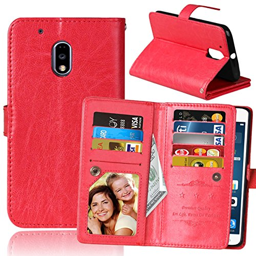 Price comparison product image Moto G4 Play Case, Moto G Play Case, SUMOON Luxury Fashion PU Leather Magnet Wallet Credit Card Holder Flip Case with Built-in 9 Card Slots & Stand For Motorola Moto G4 Play/Moto G Play (Red)