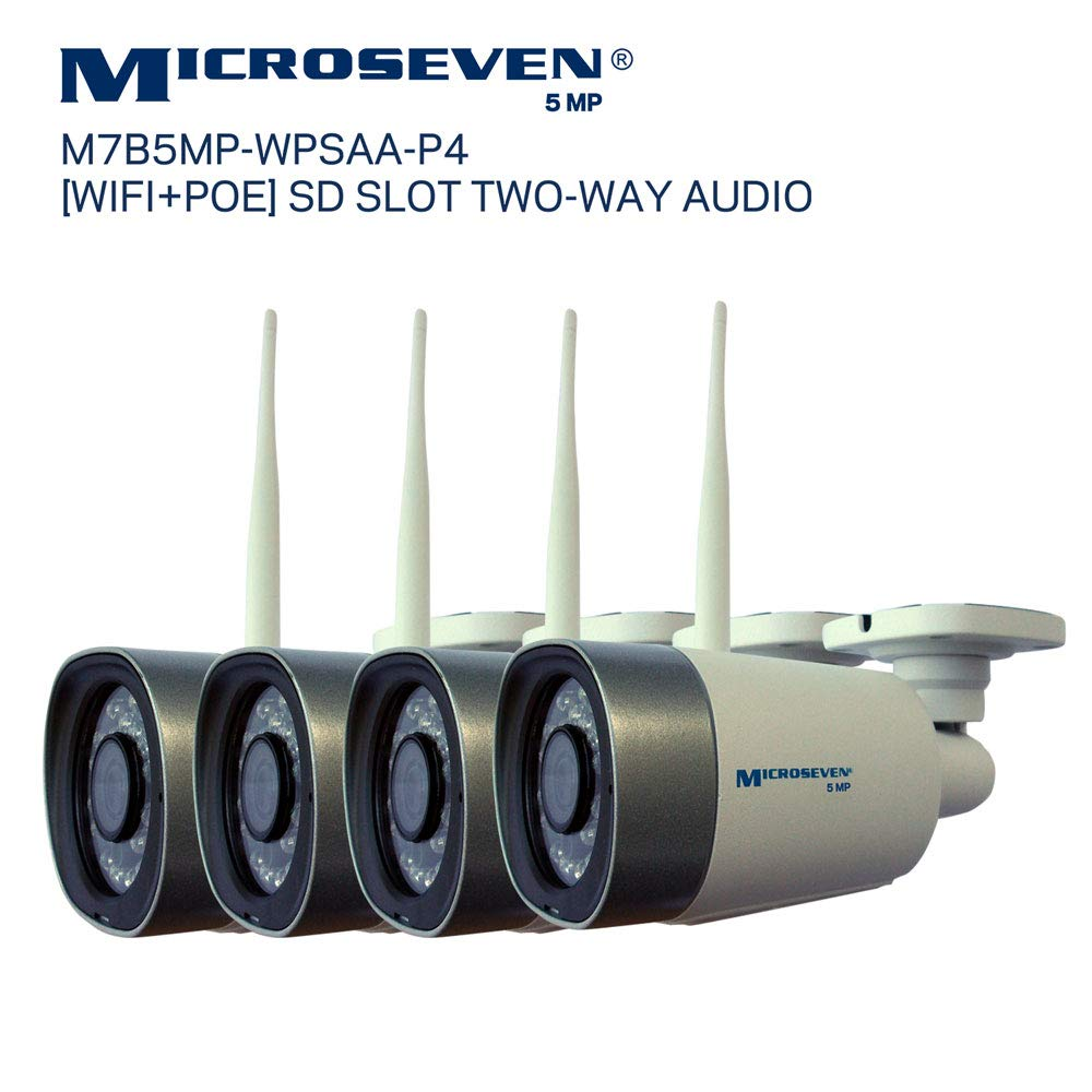 4X Microseven 5MP HD 2560×1920 WiFi PoE 2 Two-Way Audio,Built-in Amplified Mic Speaker, Alexa, SD Slot,Outdoor Security IP Camera, Day Night, Motion, FTP,Free 24hr Cloud, Web GUI, Apps,VMS,ONVIF