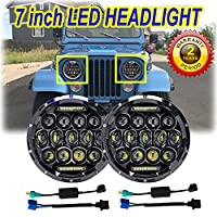 7 Inch LED Round Headlight Conversion for Jeep CJ CJ5 CJ7 Tractor Trailer Truck 150W 6000K Hi/Lo Beam Led Headlamp 1 Pair