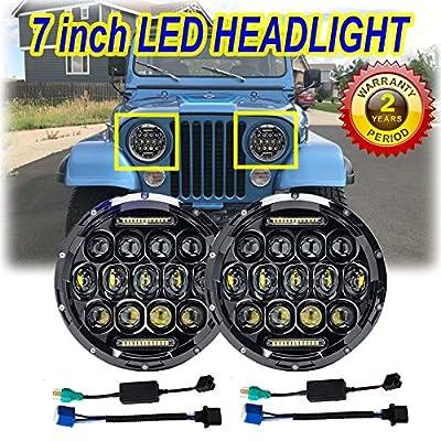 7 Inch LED Round Headlight Conversion for Jeep CJ CJ5 CJ7 Tractor Trailer Truck 150W 6000K Hi/Lo Beam Led Headlamp 1 Pair