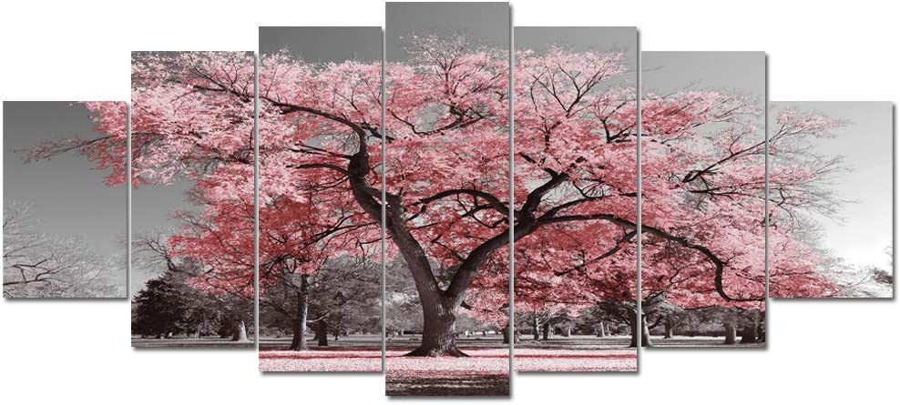 Floral Butterflies Red Pink PANORAMIC CANVAS WALL ARTWORK Print Art