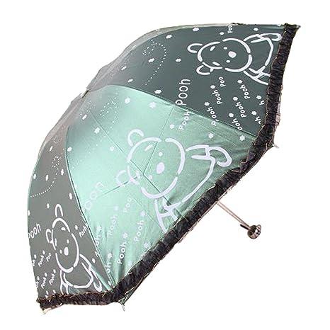 uniqueen paraguas Mujer Plegable Compacto Viajes Ultralight Dome fuerte Sombrilla Anti-UV paraguas plegable oso