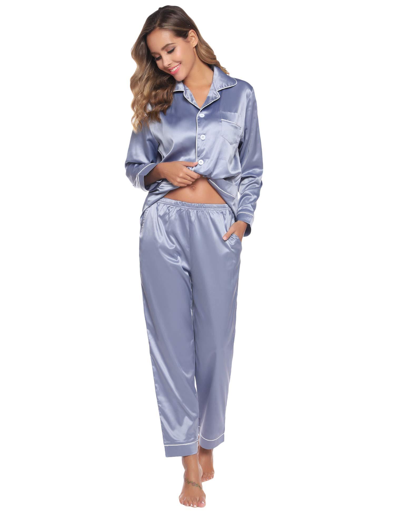 Abollria Women's Pajamas,Satin Nightwear Set,Long Sleeve Button Up Shirt & Pants with Pockets Ladies Sleepwear Silky Loungewear S~2XL